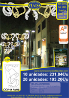 Oferta Luces de Navidad LED low cost. Campana de color blanco cálido con lazos de color blanco LED.
